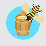 Honey bee and honey barrel flat design Royalty Free Stock Photos
