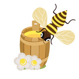 Honey bee and honey barrel with flowers on white flat design. Icon Stock Photo