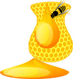 Honey bee and honeycomb Royalty Free Stock Images