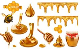 Honey, bee, honeycomb, drop and seamless pattern. Set vector elements Stock Photos