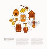 Honey bee house illustration. Royalty Free Stock Photos