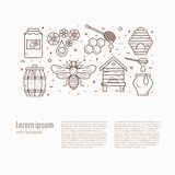 Honey bee icon illustration. Royalty Free Stock Images