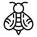 Honey bee icon, outline style royalty free illustration