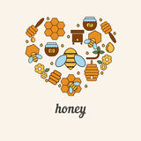 Honey and bee icons in the shape of heart. Stock Images