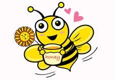 Honey & Bee. Illustration style design Royalty Free Stock Photo