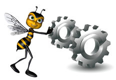 Honey Bee Is Pushing The Engine Stock Image