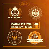 Honey bee label set Royalty Free Stock Images