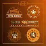 Honey bee label set. Templates for badges, labels, tags for honey bee product. Set 11. Vector illustration royalty free illustration