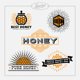 Honey bee label set Stock Photography