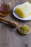 Honey, bee pollen and honeycomb. Honey, honeycomb and bee pollen royalty free stock image