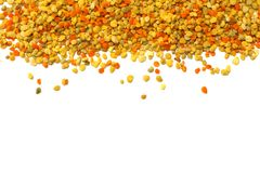 Honey bee pollen isolated on white background. top view stock photos