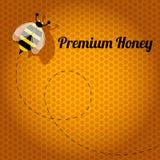 Honey Bee premio su un fondo arancio del favo Illustrazione di Stock