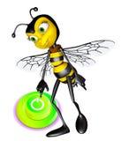 Honey bee press the botton Stock Photos