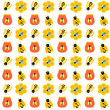 Honey Bee Seamless Pattern Fotografie Stock