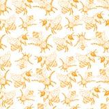 Honey Bee Seamless Pattern, ejemplo del vector del bosquejo con las colmenas de la abeja en estilo del vintage Foto de archivo