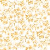 Honey Bee Seamless Pattern, ejemplo del vector del bosquejo con las colmenas de la abeja en estilo del vintage Imagenes de archivo