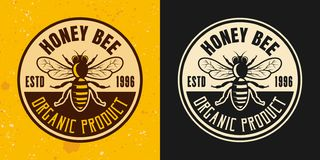 Honey bee set of two colored styles vector emblem. Badge, label or logo on yellow and dark background stock illustration