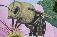 Honey Bee sur une fleur géante image libre de droits