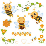 Honey bee theme characters and icons Stock Photography