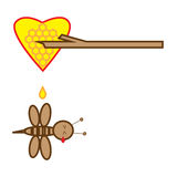 Honey Bee. Vector illustration bee tear flow after wood stab honey bee heart isolated on white background Royalty Free Stock Photography