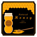 The honey, bee. The vector shows beehive honey nectar hive swarm winged bee honeycomb wax private apiary beekeeper beeswax.Beehive honey for beeswaxes honeycombs Stock Images