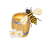 Honey bee with wooden barrel and flowers isolated Royalty Free Stock Image