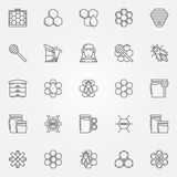 Honey and beekeeping icons set Royalty Free Stock Image