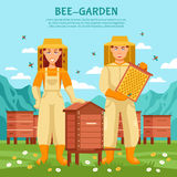 Honey Beekeeping Illustration Poster Photo libre de droits