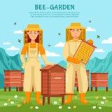 Honey Beekeeping Illustration Poster Royalty Free Stock Photo