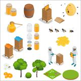 Honey and beekeeping isometric design elements. Apiary, honey, beekeeper, hives, bees, equipment, flowers. For eco. Products of beekeeping cosmetics medicine stock illustration