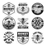 Honey and beekeeping set of vector vintage emblems stock illustration