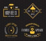 Honey and beekeeping vintage logo set royalty free illustration