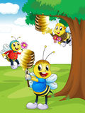 Honey bees. Illustration of a honey bees with honey under a tree Royalty Free Stock Photo