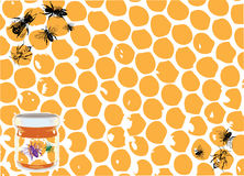 Honey and bees. Abstract colored image with honey jar and bee shapes Royalty Free Stock Photo