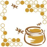 Honey and bees Royalty Free Stock Photo