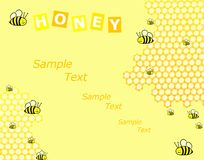 Honey and bees background. Honey and bees cute illustration stock illustration