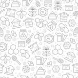 Honey bees, bee cells, beehives, honey ladle and flowers. Seamless honey pattern with stroked beekeeping signs - honey bees, bee cells, beehives, honey ladle royalty free illustration