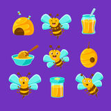 Honey Bees, Beehives And Jars With Yellow Natural Honey Set Of Colorful Cartoon Illustrations Stock Image