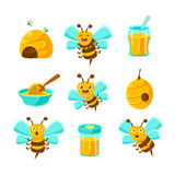 Honey Bees, Beehives And Jars With Yellow Natural Honey Set Of Colorful Cartoon Illustrations. Royalty Free Stock Photos