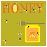 Honey and bees Royalty Free Stock Photography