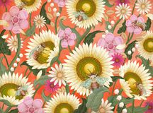 Honey bees and flowers background. Retro hand drawn etching shading style design in colorful tone vector illustration