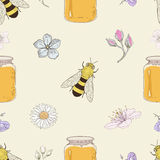 Honey bees and flowers seamless pattern Stock Photo