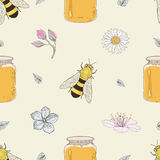 Honey bees and flowers seamless pattern Stock Images