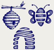 Honey bees and hive. Doodle style stock illustration