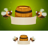 Honey bees holding blank banner Stock Image