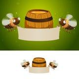 Honey bees holding blank banner. Barrel of honey on the background. Design concept for honey fair Stock Image