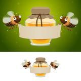 Honey bees holding blank banner Stock Images
