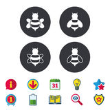 Honey bees icons. Bumblebees symbols. Flying insects with sting signs. Calendar, Information and Download signs. Stars, Award and Book icons. Light bulb royalty free illustration