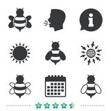 Honey bees icons. Bumblebees symbols. Flying insects with sting signs. Information, go to web and calendar icons. Sun and loud speak symbol. Vector vector illustration