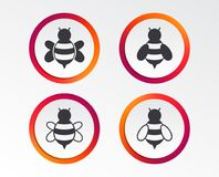 Honey bees icons. Bumblebees symbols. Flying insects with sting signs. Infographic design buttons. Circle templates. Vector stock illustration